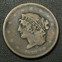 1839 CORONET MATRON HEAD COPPER LARGE CENT - GRAFFITI