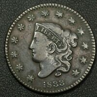 1833 CORONET MATRON HEAD COPPER LARGE CENT - ROTATED DIES