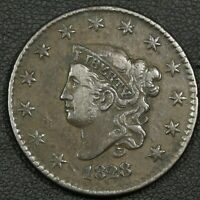 1828 CORONET MATRON HEAD COPPER LARGE CENT - REVERSE CORROSION