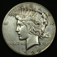 1928 PEACE SILVER DOLLAR - CLEANED