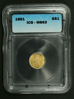1861 TYPE 3 $1 ONE DOLLAR GOLD INDIAN PRINCESS ICG MINT STATE 63