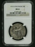 1915 S PANAMA PACIFIC SILVER COMMEMORATIVE HALF DOLLAR NGC MINT STATE 61 - PAN-PAC