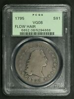 1795 TWO LEAVES FLOWING HAIR SILVER DOLLAR OGH PCGS VG 08