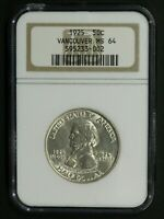1925 VANCOUVER COMMEMORATIVE SILVER HALF DOLLAR NGC MINT STATE 64