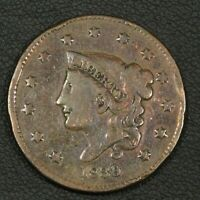 1839/6 CORONET MATRON HEAD COPPER LARGE CENT - OBVERSE CLEANED