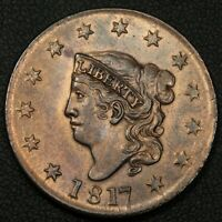 1817 13 STARS CORONET MATRON HEAD COPPER LARGE CENT - LOTS OF RED READ DESCRIPT