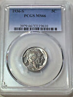 1936-S PCGS  MINT STATE 66 BUFFALO NICKEL / SHIPS FREE WITH INSURANCE