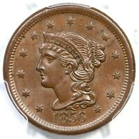 1856 N-1 R-1 PCGS MINT STATE 63 BN SLANTED 5 BRAIDED HAIR LARGE CENT COIN 1C