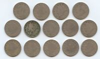 FOURTEEN 1896 LIBERTY NICKELS 5921 LOWER GRADE COINS. READABLE DATES.