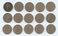 FIFTEEN 1893 LIBERTY NICKELS 5913 LOW GRADE COINS. READABLE DATES.