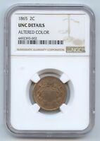 1865 2C PIECE 9651 NGC UNC. DTLS ALTERED COLOR. GREAT LOOKING COIN.