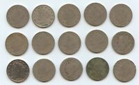FIFTEEN 1893 LIBERTY NICKELS 5911 LOW GRADE COINS. READABLE DATES.