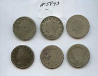 SIX DIFF 1880S LIBERTY NICKELS 5893 BOTH 1883S, 1884, 1887-89. LOW GRADE COIN