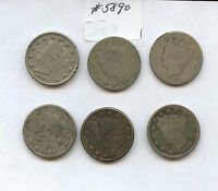 SIX DIFF 1880S LIBERTY NICKELS 5890 BOTH 1883S, 1884, 1887-89. LOW GRADE COIN