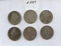 SIX DIFF 1880S LIBERTY NICKELS 5889 BOTH 1883S, 1884, 1887-89. LOW GRADE COIN