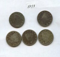LIBERTY NICKEL SET 5873 1883, 1884, 1887 TO 1889.  FIVE COINS. ALL MATCHING D