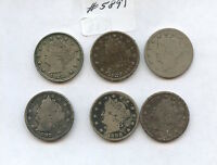 SIX DIFF 1880S LIBERTY NICKELS 5891 BOTH 1883S, 1884, 1887-89. LOW GRADE COIN