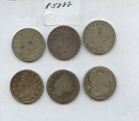 SIX DIFF 1880S LIBERTY NICKELS 5888 BOTH 1883S, 1884, 1887-89. LOW GRADE COIN