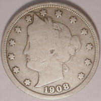 SHIPS FREE 1908 LIBERTY V NICKEL  5 CENT COIN USED , OLD ,VINTAGE  L1213