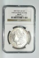 1897' NGC MINT STATE 65 MORGAN DOLLAR GEM VAM 6A TOP 100 PITTED REVERSE  NO TONING