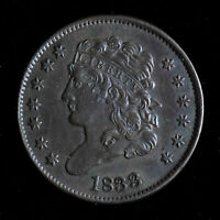 1833 1/2C CLASSIC HEAD HALF CENT - ABOUT UNCIRCULATED
