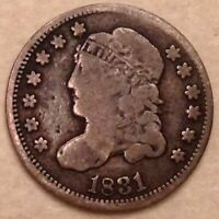 1831 US CAPPED BUST HALF 1/2 DIME 5 CENTS