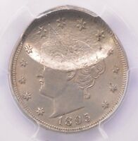 PCGS 5C 1895 LIBERTY NICKEL DOUBLE-STRUCK IN-COLLAR & 40 INDENT MINT STATE 62