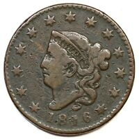 1816 MATRON OR CORONET HEAD LARGE CENT COIN 1C