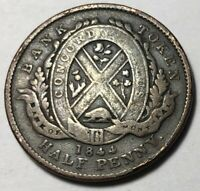 PROVINCE OF LOWER CANADA  BANK OF MONTREAL  1844 HALF PENNY