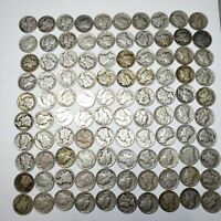 100 MERCURY DIMES $10.00 FACE VALUE COINS 90  SILVER