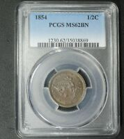 1854 BRAIDED HAIR COPPER HALF CENT PCGS MINT STATE 62 BN - UNCIRCULATED