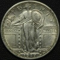 1917 S TYPE 1 STANDING LIBERTY SILVER QUARTER - LUSTROUS