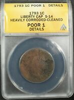 Click now to see the BUY IT NOW Price! 1793 LIBERTY CAP FLOWING HAIR COPPER LARGE CENT S 14 ANACS PO 01 DETAILS