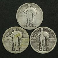 LOT OF 3 STANDING LIBERTY SILVER QUARTERS: 1917 TYPE 1, 1918?, & 1920