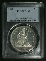 Click now to see the BUY IT NOW Price! 1867 PROOF SEATED LIBERTY SILVER DOLLAR PCGS PR 61
