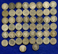 BARBER SILVER DIME   LOT OF 50 BARBER DIMES