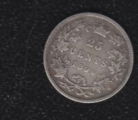 CANADA 25 CENTS 1894 SILVER