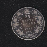 CANADA 25 CENTS 1912 SILVER