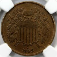 1865, TWO 2 CENT PIECE,  NGC AU 58 BN