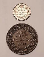 1918 CANADA 5 CENTS  92.5  SILVER  AND 1918 CANADA ONE CENT
