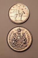 LOT OF 2 COINS : 1973 CANADA  MOUNTIE  25 CENTS  AND 1973 CA