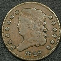 1828 13 STARS CLASSIC HEAD COPPER HALF CENT