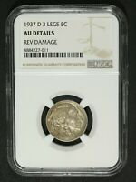 1937 D THREE LEGGED BUFFALO NICKEL NGC AU DETAILS   3 LEGS