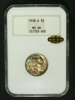 1938 D BUFFALO NICKEL OLD FATTY NGC HOLDER MS 66 GOLD CAC