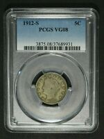 1912 S LIBERTY V NICKEL PCGS VG 08