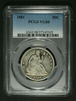 1881 SEATED LIBERTY SILVER HALF DOLLAR PCGS VG 08