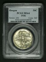 1936 OREGON TRAIL SILVER COMMEMORATIVE HALF DOLLAR PCGS MS 64