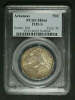 1935 S ARKANSAS SILVER COMMEMORATIVE HALF DOLLAR PCGS MS 66