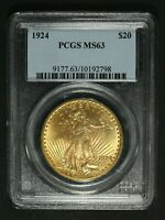 1924 $20 TWENTY DOLLAR GOLD ST. GAUDENS DOUBLE EAGLE PCGS MS 63