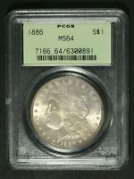 1886 MORGAN SILVER DOLLAR PCGS MS 64   OGH